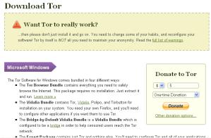 Página de descarga de Tor